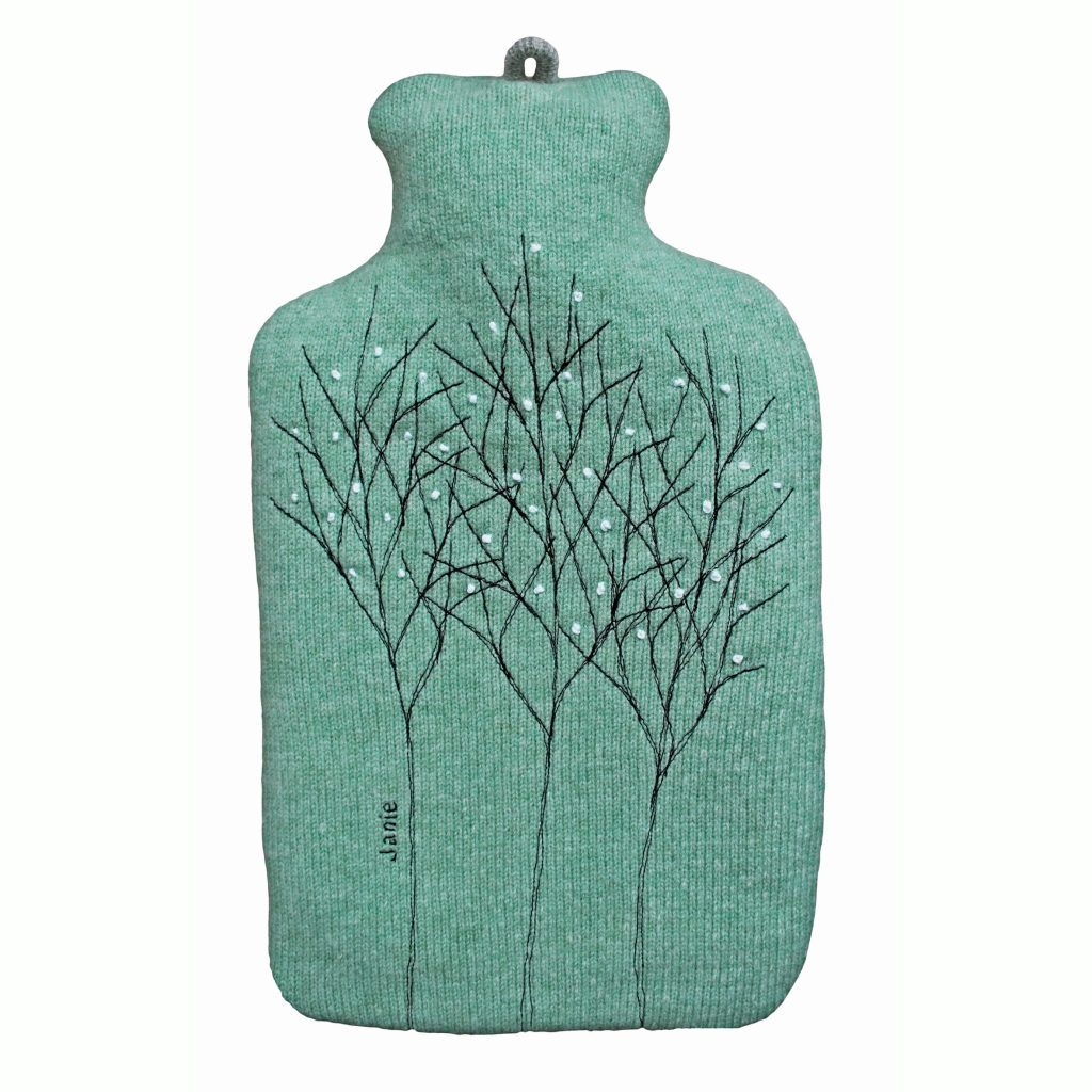 77248301 Treeline Green Hot Water Bottle Cover Front