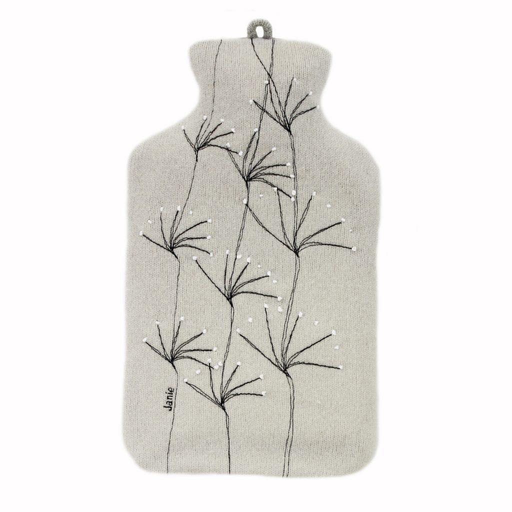 wildflower hot water bottle silver