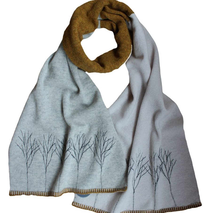 77248307 Sprig Tree Grey Scarf (2)