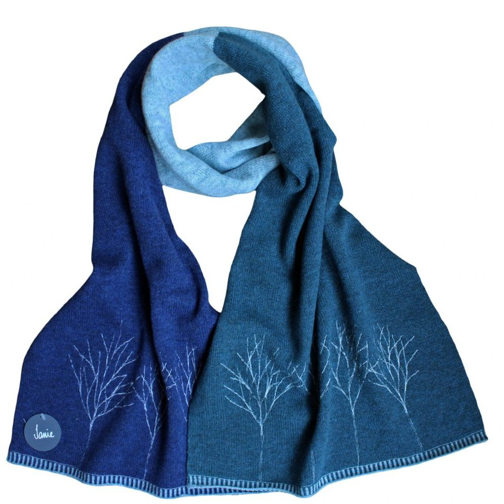 77248308 Sprig Tree Blue Scarf (2)