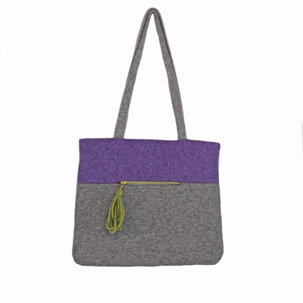 Colour block tote viola front