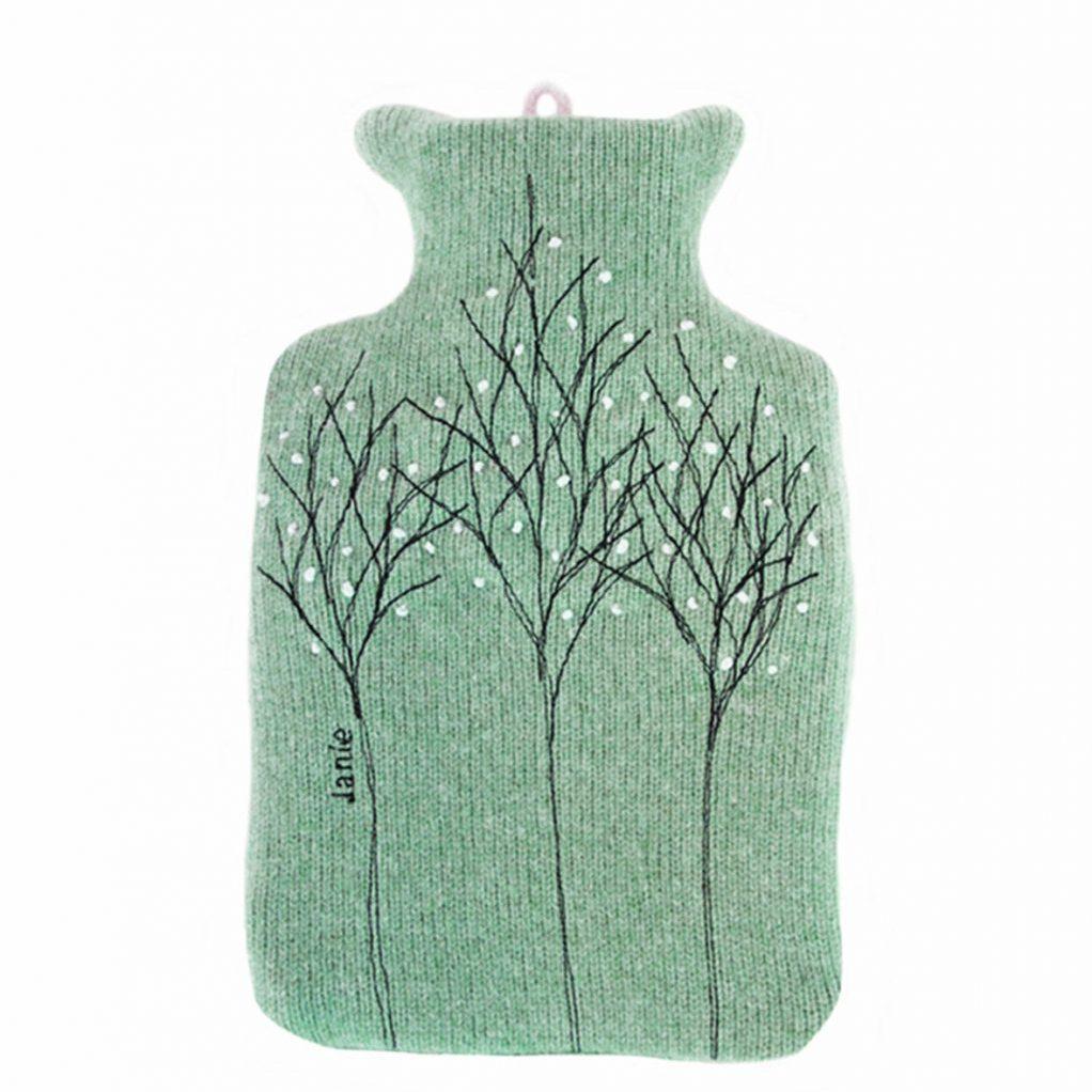 Jade treeline hot water bottle front