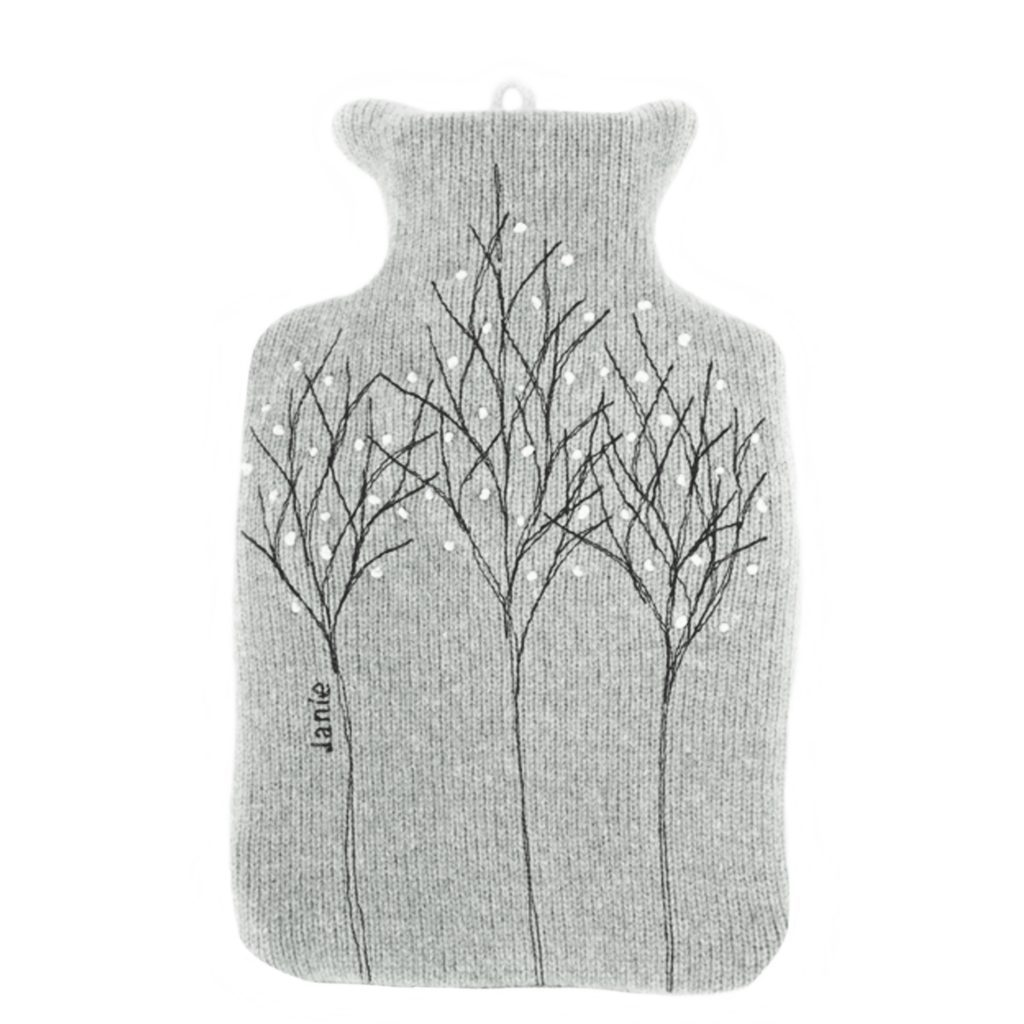 Pale grey treeline hot water bottle front