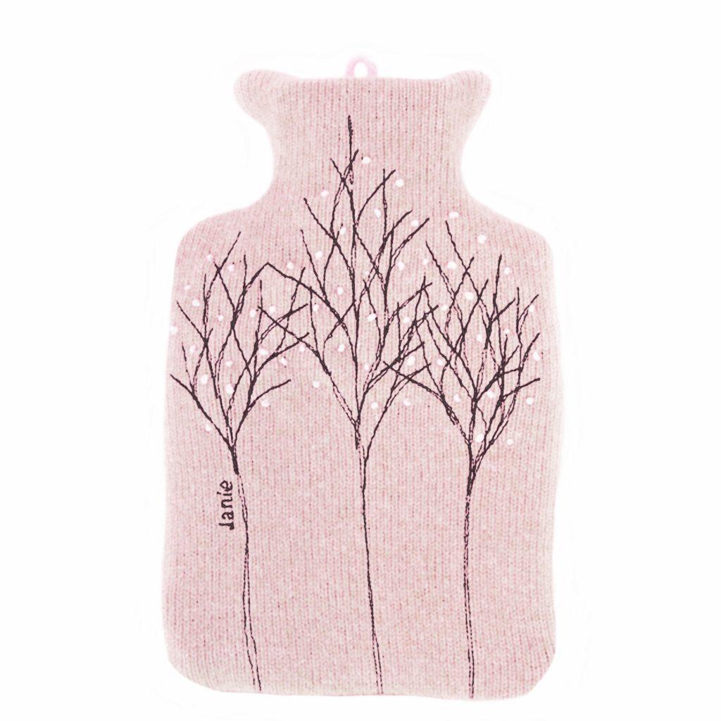 Pink treeline hot water bottle front