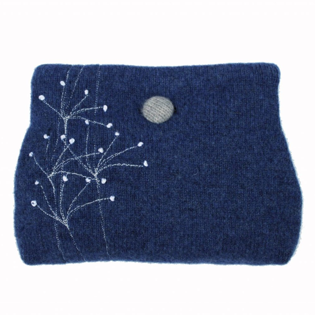 Wildflower button purse Indigo