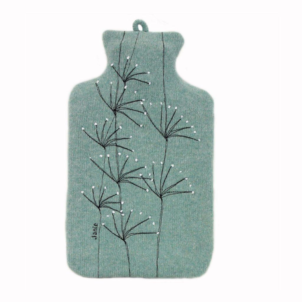 Wildflower hot water bottle Jade