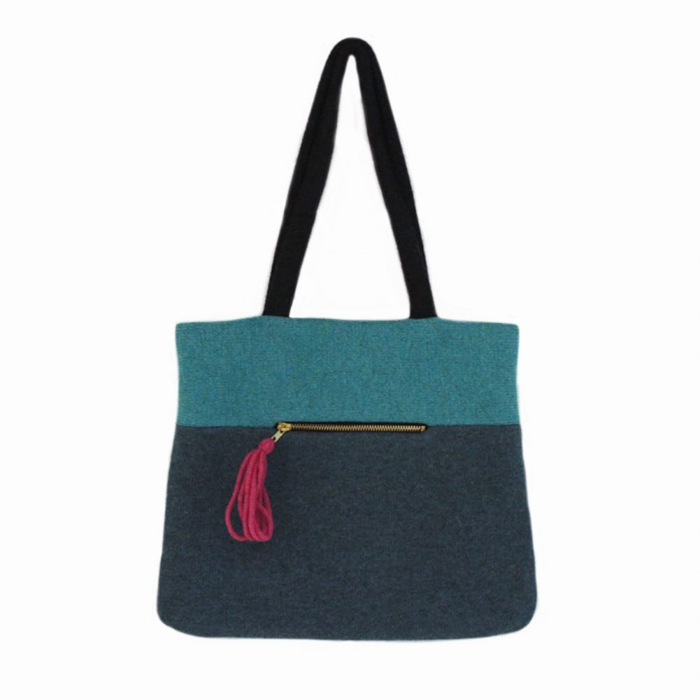 colour block tote aqua front