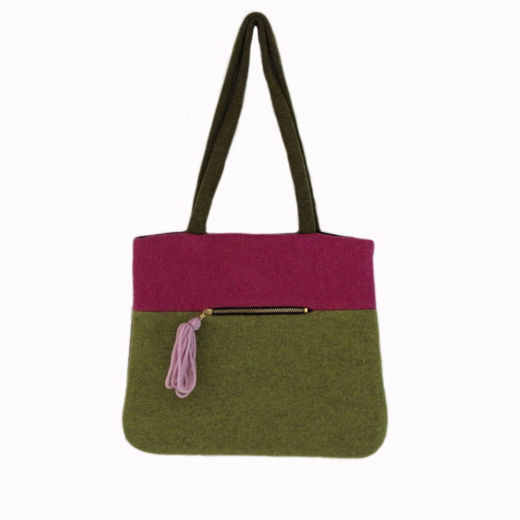 colour block tote pink