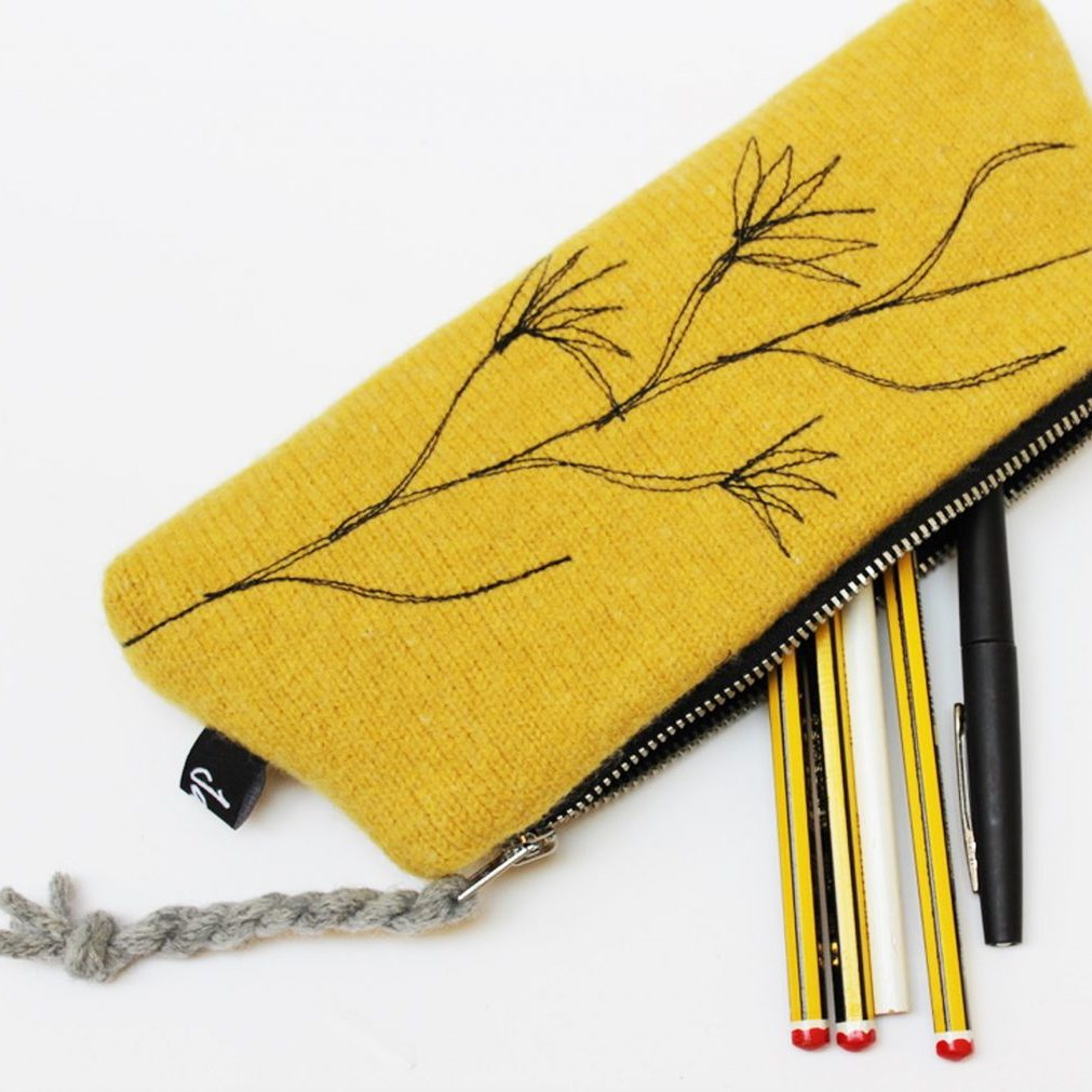 gold pencil case open