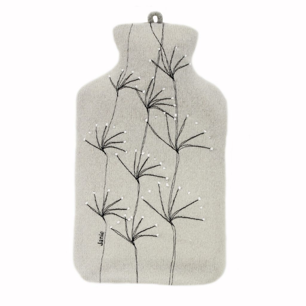 wildflower hot water bottle silver